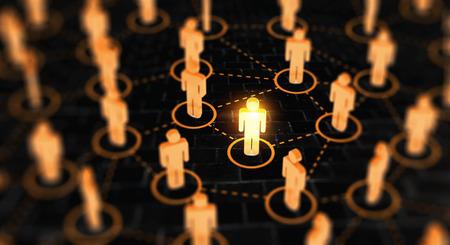 Concept abstrait de réseau social, reliant des figures humaines. Banque d'images