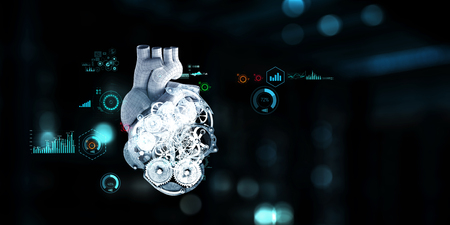 Anatomic heart made with steel gears and mechanic parts Stock Photo - 123588116