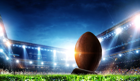 Full night football arena in lights Stock Photo