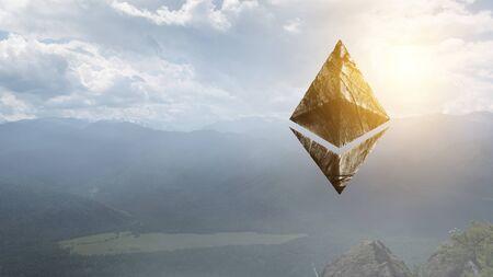 Ethereum symbol on landscape background
