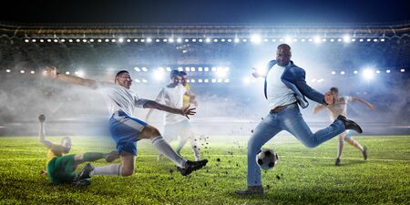 Black man plays his best soccer match. Mixed media