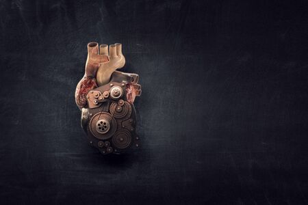 Anatomic heart made with gears and mechanic parts Stock Photo - 124474197