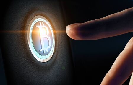 Finger about to press Bitcoin button. Mixed media Stockfoto