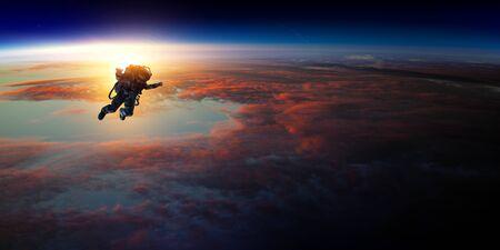 Astronaut in space on planet orbit.