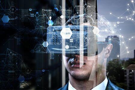 Experiencia de realidad virtual. Tecnologías del futuro. Técnica mixta Foto de archivo