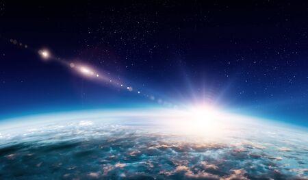 Salida del sol en la órbita del planeta, belleza espacial