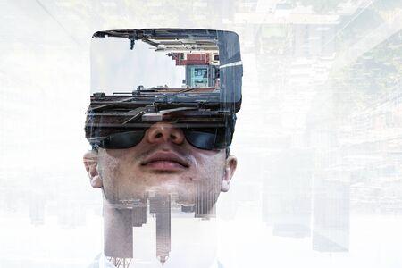 Virtual reality experience. Technologies of the future. Mixed media Фото со стока