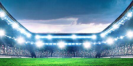 Arène de football de nuit complète dans les lumières Banque d'images