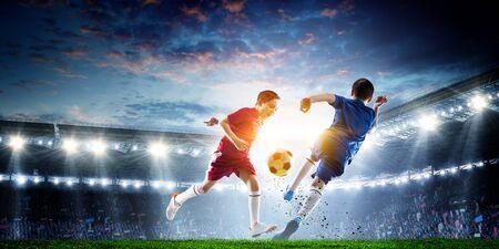Little soccer champions. Mixed media Stockfoto