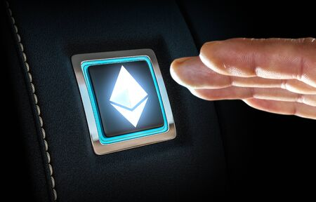 Finger about to press button with Ethereum symbol. Mixed media Stockfoto