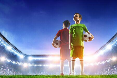 Little soccer champions. Mixed media 版權商用圖片 - 125848660