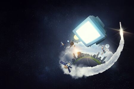 Retro pc screen flying in space