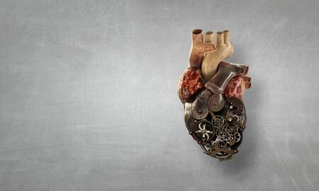 Anatomic heart made with gears and mechanic parts