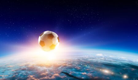 Soccer ball flying in space over planet Imagens