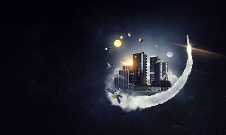 Night cityscape view against dark space background