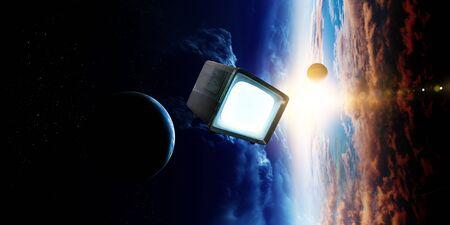 Retro TV flying in space Imagens