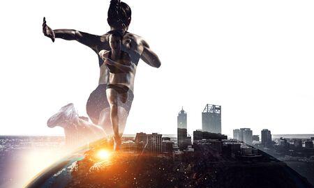 Concepto abstracto de correr joven deportista