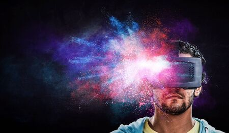 Virtual reality experience. Technologies of the future. Mixed media Stock Photo
