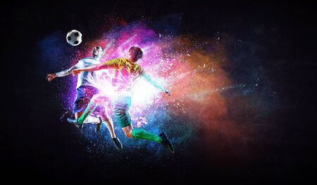 Soccer players with colourful splashes. Mixed media