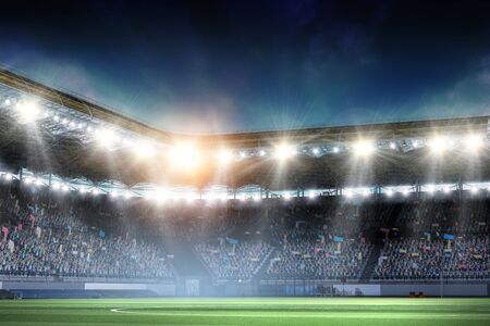 Full night soccer arena in lights and flashes