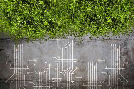 Grey microcircuit, green leaves on grey grunge texture Banque d'images - 126216246