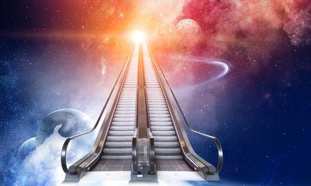 Modern double escalator to space 版權商用圖片