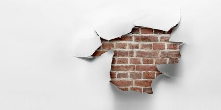 Paper torn hole effect on the wall. Mixed media Stockfoto