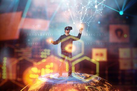 Virtual reality experience. Technologies of the future. Mixed media Stock Photo