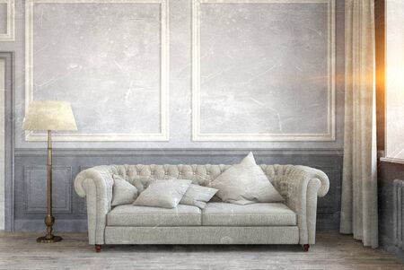 Classic interior of a room with sofa