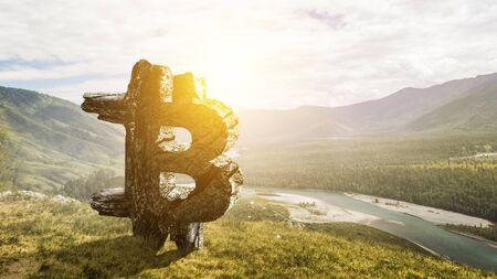 Bitcoin symbol on landscape background