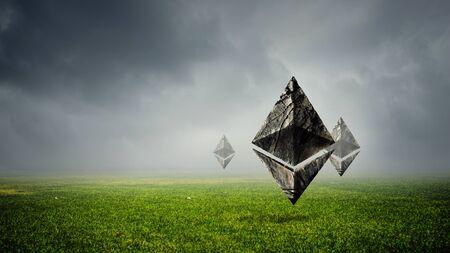 Ethereum symbols on green grass