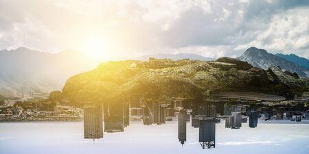 Mountain hills landscape with cityscape Banco de Imagens