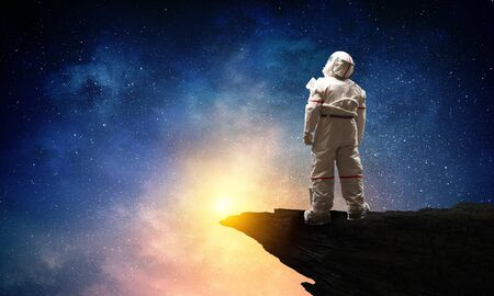 Spaceman and the planet Earth abstract theme Stock fotó