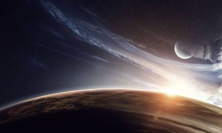Earth, moon and stars on blue dark sky