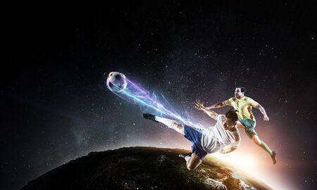 Football players play their best soccer match