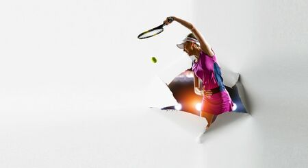 Paper breakthrough hole effect and tennis player