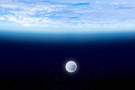 Earth atmosphere with Moon on deep blue space background