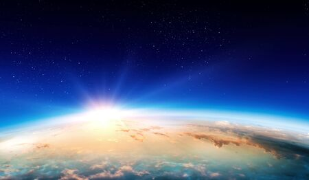 Earth with sunrise on blue space background