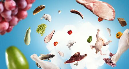 Food Ingredients on blue sky background
