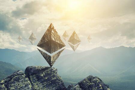 Ethereum symbols on landscape background Zdjęcie Seryjne