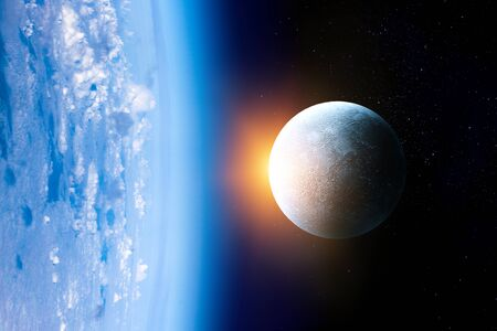 Moon beside Erath with sunshine and dark space background Stock Photo