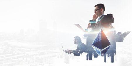 Business team concept. Mixed media Banco de Imagens