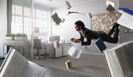 El hombre vuela y trabaja en la computadora portátil. Técnica mixta