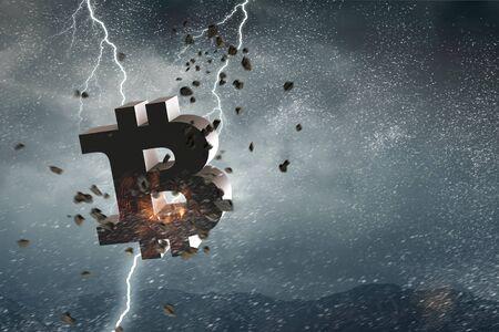 Bitcoin symbol in stormy sky
