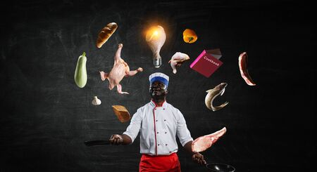 Black chef creative cooking. Mixed media. 版權商用圖片
