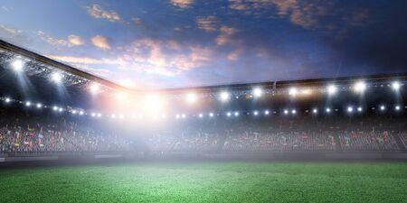 Pełna nocna arena piłkarska w światłach Zdjęcie Seryjne