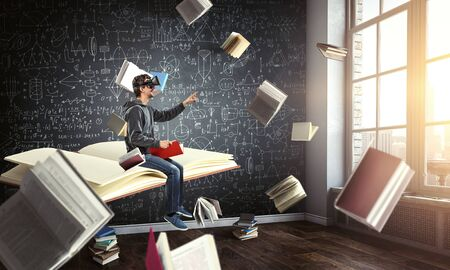 Virtual reality experience, young man in VR glasses