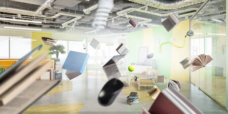 Sunny bright furniture office with objects flying around