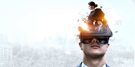 Abstract image of virtual reality experience, a man in VR glasses