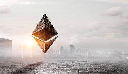 Ethereum symbol on cityscape background